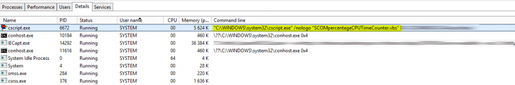 Cscript.exe running SCOM Cpu percentange script