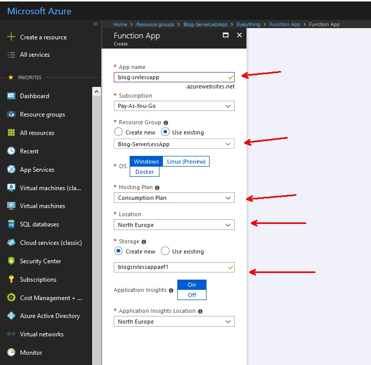 create a new azure function app from market place