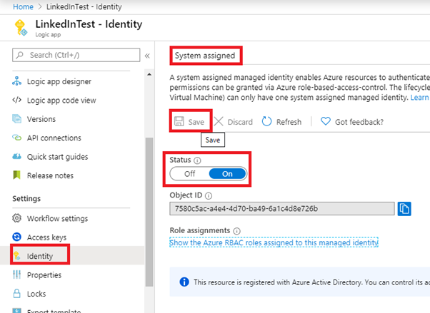 enable system assigned identity in Logic App